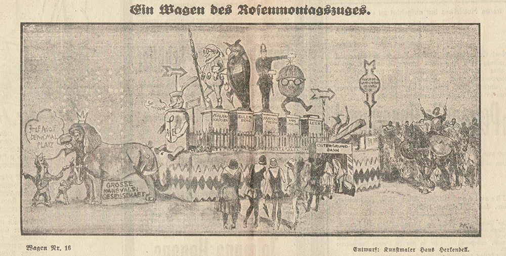 GROßE 1890 Rosenmontagswagen 1928 Karneval Düsseldorf