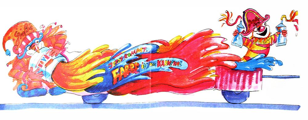 GROßE 1890 Rosenmontagswagen 1994 Karneval Düsseldorf