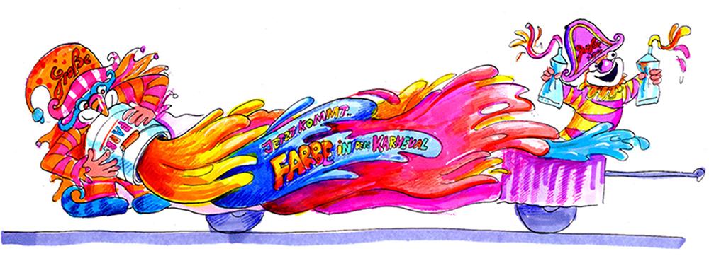 GROßE 1890 Rosenmontagswagen 2000 Karneval Düsseldorf