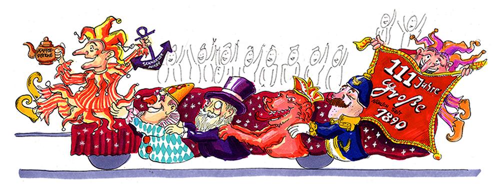 GROßE 1890 Rosenmontagswagen 2001 Karneval Düsseldorf