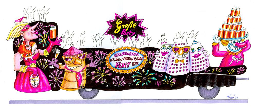 GROßE 1890 Rosenmontagswagen 2009 Karneval Düsseldorf