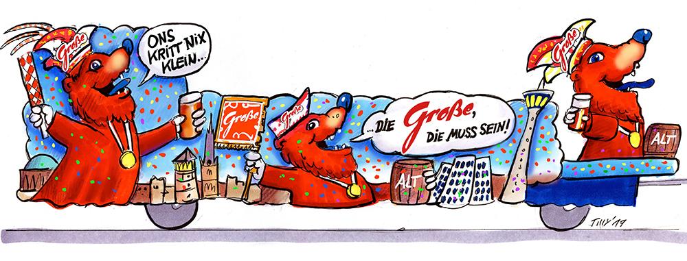 GROßE 1890 Rosenmontagswagen 2017 Karneval Düsseldorf